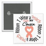Uterine Cancer I Wear Peach Ribbon For My Cousin Button