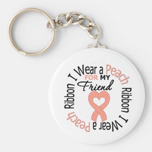 Uterine Cancer I Wear Peach Ribbon For My Friend Keychain