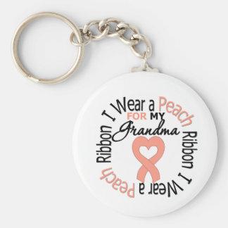 Uterine Cancer I Wear Peach Ribbon For My Grandma Keychain