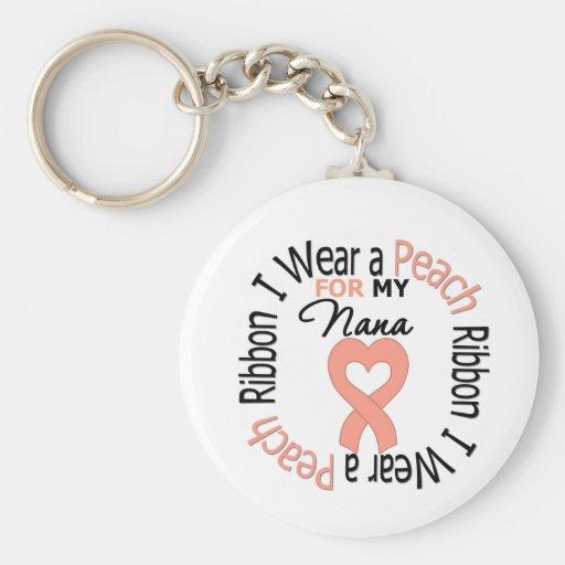 Uterine Cancer I Wear Peach Ribbon For My Nana Key Chains