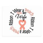 Uterine Cancer I Wear Peach Ribbon For My Wife Postcard