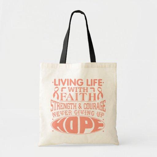 Uterine Cancer Living Life with Faith Canvas Bag