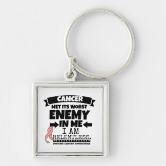 Uterine Cancer Met Its Worst Enemy In Me.png Keychain