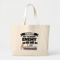 Uterine Cancer Met Its Worst Enemy In Me.png Large Tote Bag