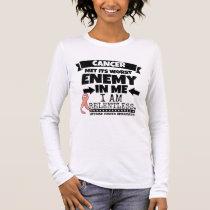 Uterine Cancer Met Its Worst Enemy In Me.png Long Sleeve T-Shirt