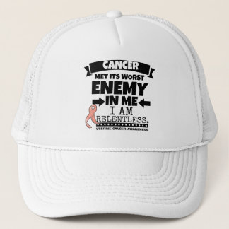 Uterine Cancer Met Its Worst Enemy In Me.png Trucker Hat