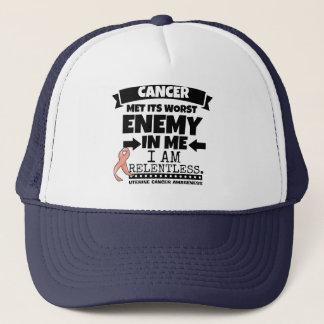 Uterine Cancer Met Its Worst Enemy In Me.png Trucker Hat