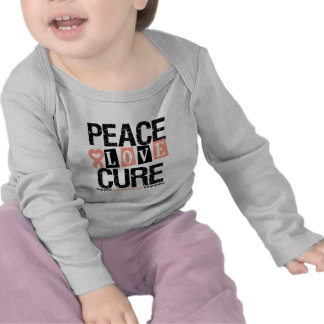 Uterine Cancer  Peace Love Cure T Shirts
