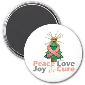 Uterine Cancer Peace Love Joy Cure 3 Inch Round Magnet
