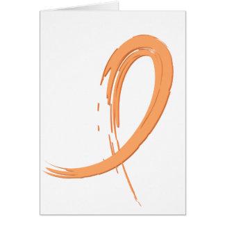 Uterine Cancer Peach Ribbon A4 Card