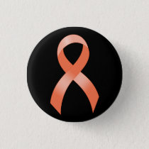 Uterine Cancer Peach Ribbon Button