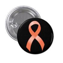 Uterine Cancer Peach Ribbon Button