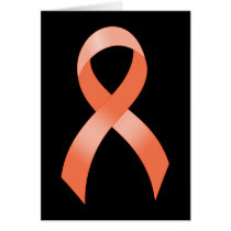 Uterine Cancer Peach Ribbon Card