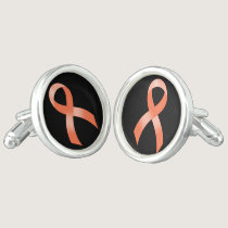 Uterine Cancer Peach Ribbon Cufflinks