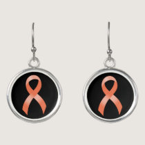 Uterine Cancer Peach Ribbon Earrings