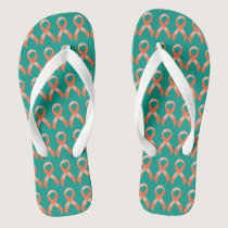Uterine Cancer Peach Ribbon Flip Flops