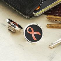 Uterine Cancer Peach Ribbon Pin