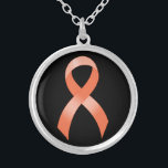 """Uterine Cancer Peach Ribbon Silver Plated Necklace<br><div class=""""desc"""">Peach ribbon necklace for Uterine Cancer Awareness. Give it your own personal touch by changing the background color or adding your own text. Pair it with matching earrings and wear them to show your support at any type of function.</div>"""