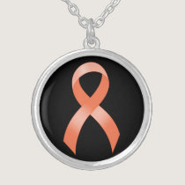 Uterine Cancer Peach Ribbon Silver Plated Necklace