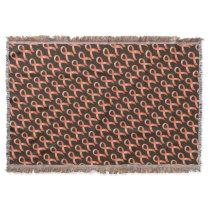 Uterine Cancer Peach Ribbon Throw Blanket