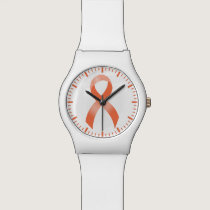 Uterine Cancer Peach Ribbon Wristwatch
