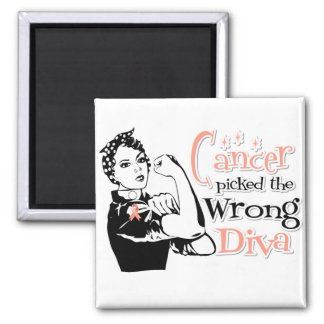 Uterine Cancer Picked The Wrong Diva 2 Inch Square Magnet