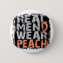 Uterine Cancer Real Men Wear Peach Pinback Button