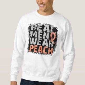 Uterine Cancer Real Men Wear Peach Sweatshirt