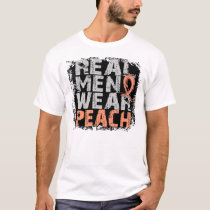 Uterine Cancer Real Men Wear Peach T-Shirt