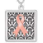 Uterine Cancer Ribbon Damask Deco Custom Necklace