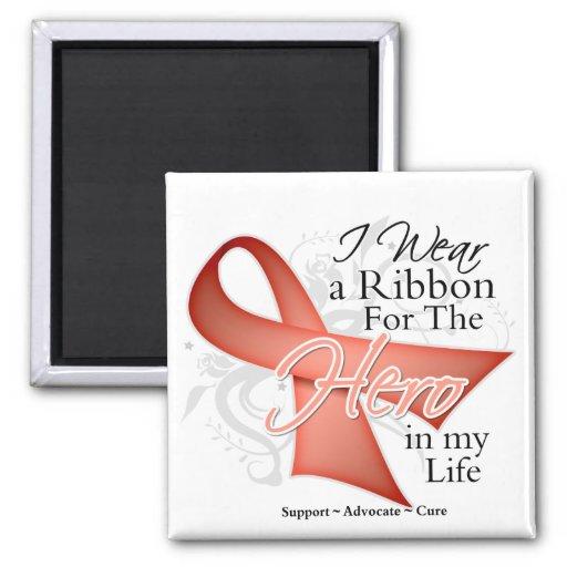 Uterine Cancer Ribbon Hero in My Life Refrigerator Magnets