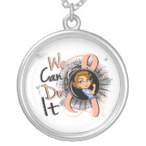 Uterine Cancer Rosie Cartoon WCDI.png Silver Plated Necklace