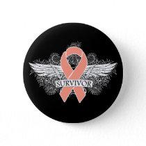 Uterine Cancer Scroll Winged SURVIVOR Ribbon Pinback Button