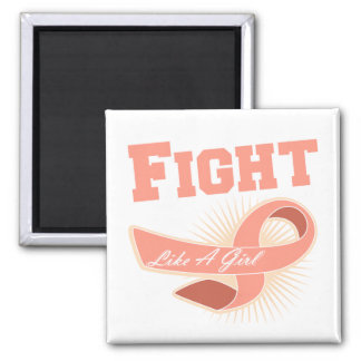 Uterine Cancer Sporty Fight Like A Girl 2 Inch Square Magnet