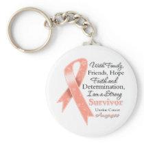 Uterine Cancer Support Strong Survivor Keychain