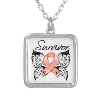 Uterine Cancer Survivor Butterfly Square Pendant Necklace