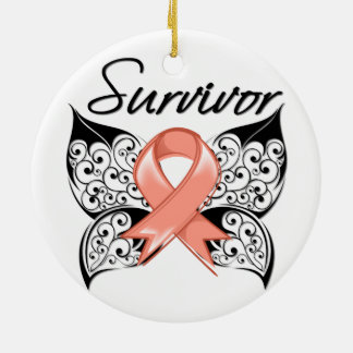 Uterine Cancer Survivor Butterfly Double-Sided Ceramic Round Christmas Ornament