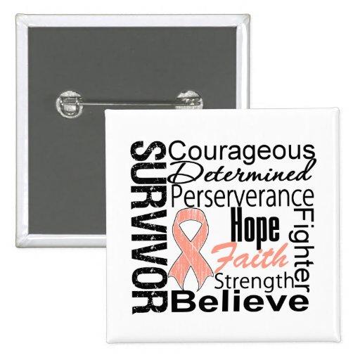 Uterine Cancer Survivor Collage Buttons