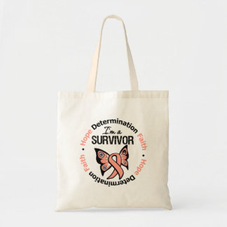 Uterine Cancer Survivor Hope Determination Faith Tote Bag