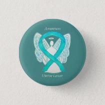 Uterine Cancer Teal Awareness Ribbon Angel Pin
