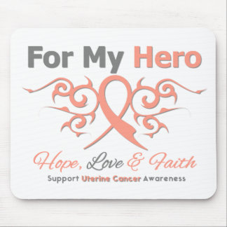 Uterine Cancer Tribal Ribbon Hero Mouse Pad