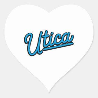 Utica neon light in cyan heart sticker