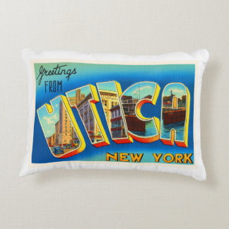 Utica New York NY Old Vintage Travel Souvenir Accent Pillow