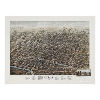 Utica, NY Panoramic Map - 1873 Poster