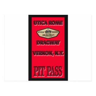 Utica Rome Dragway Pit Pass Postcard