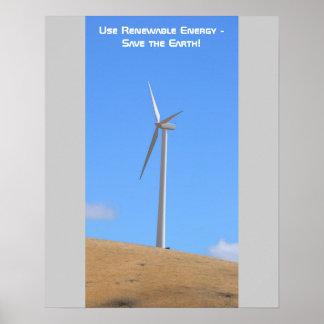 Utilice el poster de la energía renovable