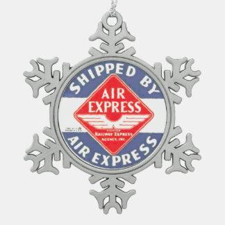 Utilice expreso de aire por la agencia expresa del adorno de peltre en forma de copo de nieve