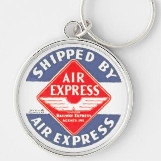 Utilice expreso de aire por la agencia expresa del llavero redondo plateado