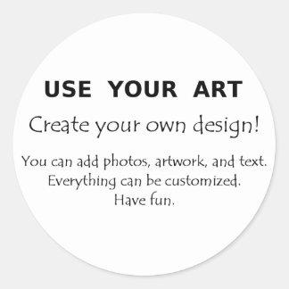 Utilice su arte crean sus propios diseños únicos etiquetas redondas
