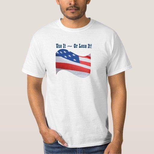 Utilícelo o piérdalo, bandera americana, playera